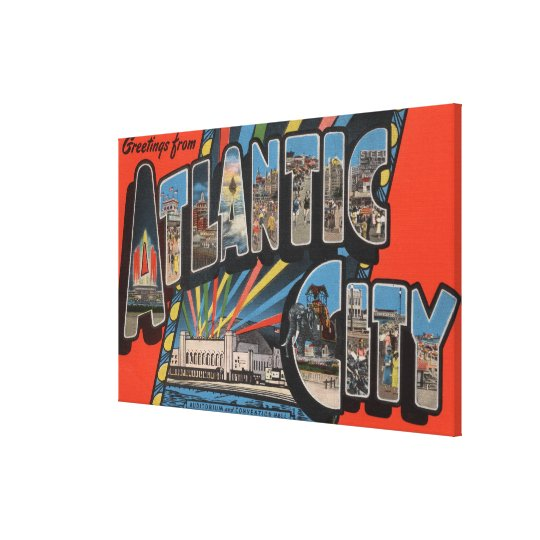 Altantic City, New Jersey - Large Letter Canvas Print