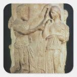 Altar cilíndrico que representa el sacrificio de pegatina cuadrada