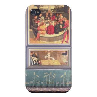Altar con un tríptico que representa iPhone 4/4S fundas