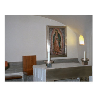 Altar in the catacombs with ikon postcard