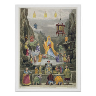 Altar Piece in the 'Yun Stzoo Stzee' Temple, Ting- Poster
