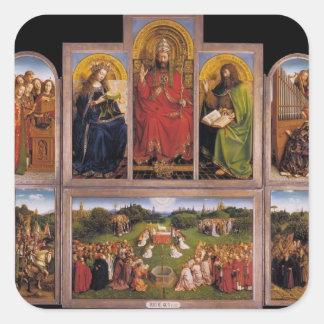 Altarpiece de enero van Eyck- The Gante Pegatina Cuadrada