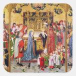 Altarpiece de las siete alegrías de la Virgen Calcomanías Cuadradases