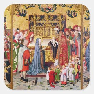 Altarpiece de las siete alegrías de la Virgen Pegatina Cuadrada