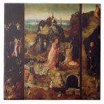 Altarpiece de los ermitaños (aceite en el panel) azulejo cuadrado grande
