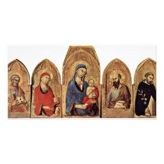 Altarpiece Of Orvieto Scene Maestetã S And Saints, Custom Photo Card