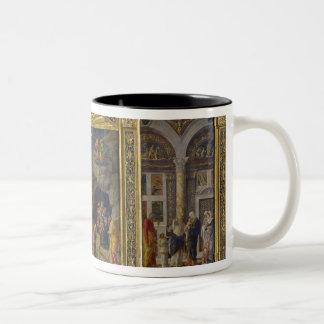 Altarpiece que representa la ascensión, la adoraci taza dos tonos