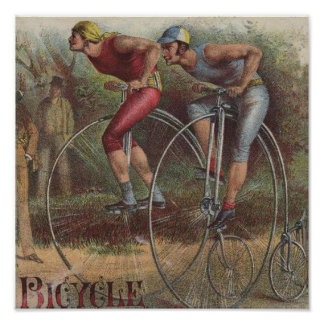 Altas bicicletas de la rueda del Victorian Poster