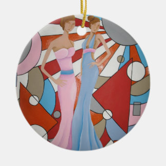 Altas costuras adorno navideño redondo de cerámica