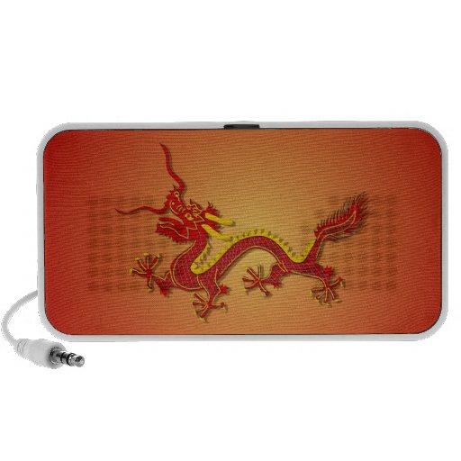 Altavoces chinos del dragón del rojo y del oro