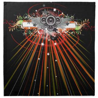 Altavoces de la música en vuelo con los rayos servilletas de papel