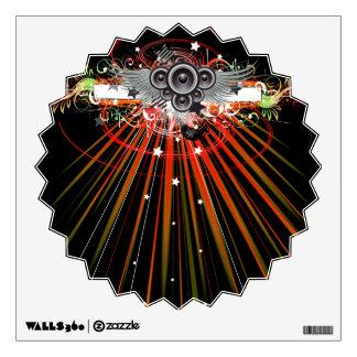 Altavoces de la música en vuelo con los rayos vinilo