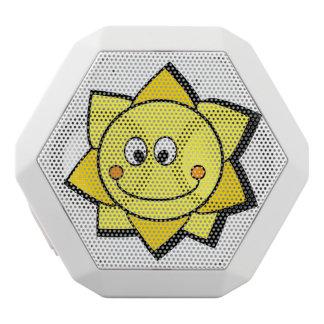 Altavoz amarillo y anaranjado del dibujo animado altavoces bluetooth blancos boombot REX