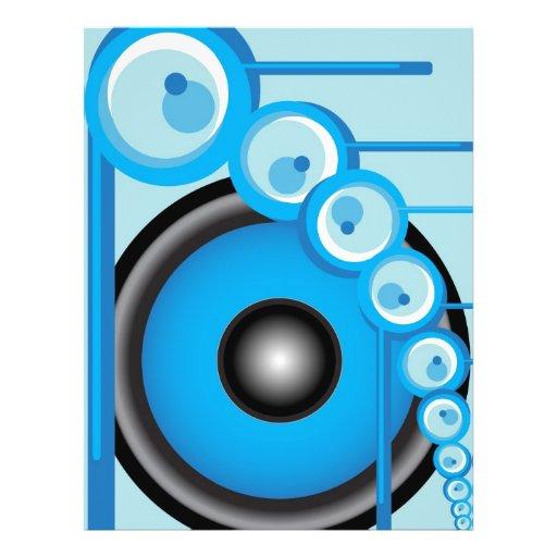 """Altavoz azul folleto 8.5"""" x 11"""""""