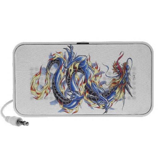 Altavoz azul oriental fresco del doodle del dragón