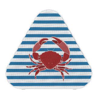 Altavoz azul y blanco del cangrejo rojo de la raya