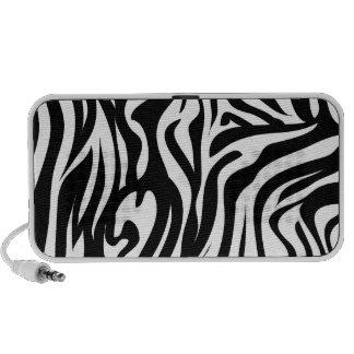Altavoz del Doodle - estampado de zebra blanco y n