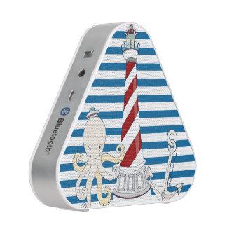 Altavoz horizontal azul y blanco náutico de la