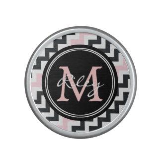 Altavoz negro rosado de Bluetooth del monograma de