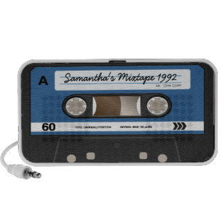Altavoz personalizado casete retro azul de Mixtape