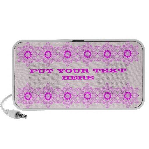 Altavoz personalizado frontera rosada del texto de
