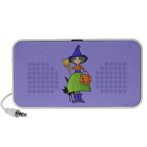 Altavoz púrpura del Doodle de la pequeña bruja