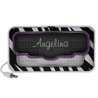 Altavoz púrpura del Doodle del estampado de zebra