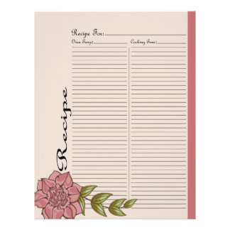Alter Recipe Page for Pink Rose Recipe Binder - 2 Letterhead