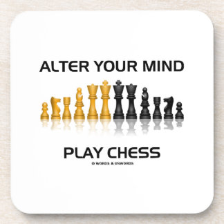 Alter Your Mind Play Chess (Reflective Chess Set) Coasters