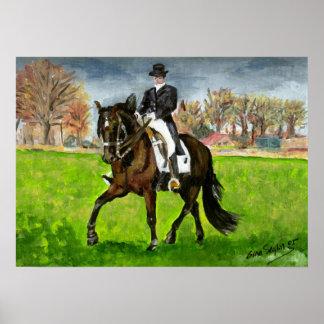 Altere el retrato real del caballo del Dressage Póster