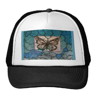 Altered Art  Butterfly Collage brown blue green Mesh Hat