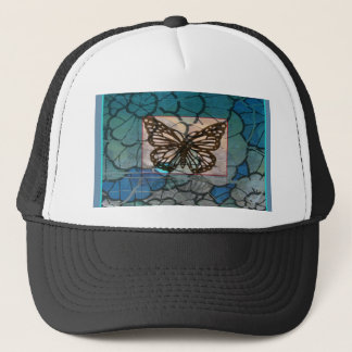 Altered Art  Butterfly Collage brown blue green Trucker Hat