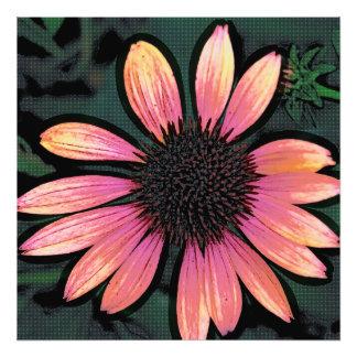 Altered Art Pop Art Hot Pink Grunge Flower Photo Print