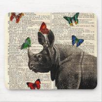 Altered Art Rhinoceros  Butterflies Mousepad