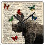 Altered Art Rhinoceros  Butterflies Wall Clock