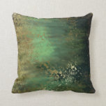 "Altered Art Teal Green Throw Pillow<br><div class=""desc"">Teal and other greens with gold splashed in create a unique art design.</div>"