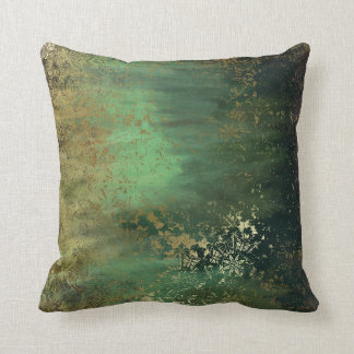 Altered Art Teal Green Throw Pillow
