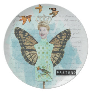 Altered Art Vintage Collage Pretend Plate