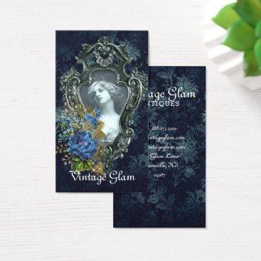 Beach Themed Altered Frame Vintage Glam Blue Wedding Business Card