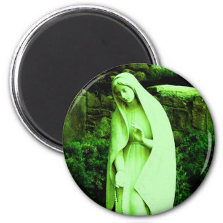 Altered Green Virgin Mary 2 Inch Round Magnet