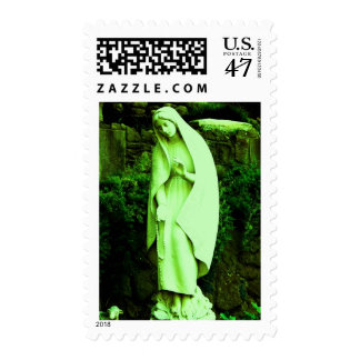 Altered Green Virgin Mary Postage