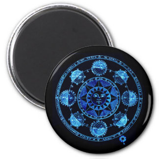 Altered Light Blue Zodiac Sun Eclipses 2 Inch Round Magnet