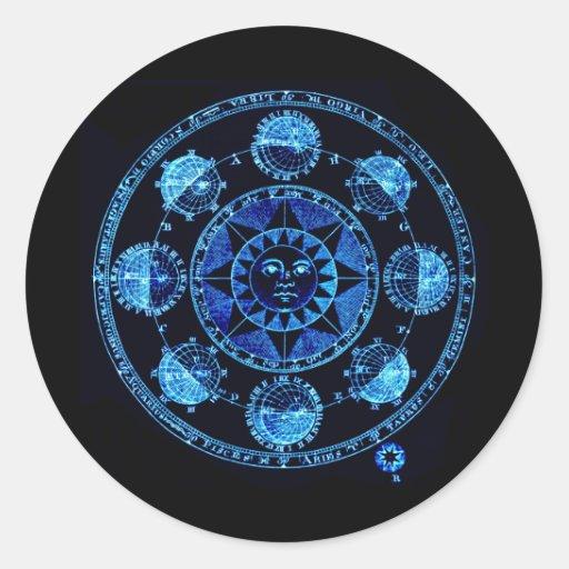 Altered Light Blue Zodiac Sun Eclipses Classic Round Sticker