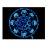 Altered Light Blue Zodiac Sun Eclipses Post Card