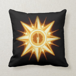 Altered Light Gold Steampunk Vintage Compass Rose Throw Pillow