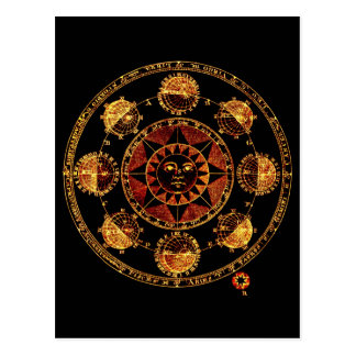 Altered Light Gold Zodiac Sun Eclipses Postcard