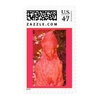 Altered Orange Pink Qwan Yin Statue Postage