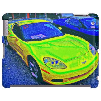Altered photo of yellow Corvette