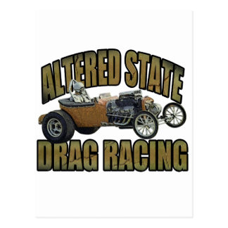 altered state drag racing hot rod postcard