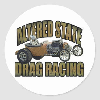 altered state drag racing hot rod round sticker